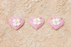 Pink heart on lace background Royalty Free Stock Images
