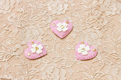 Pink heart on lace background Stock Photo