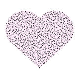 Pink heart with leaves Stock Images