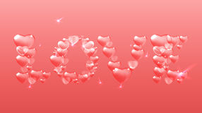 Pink heart lettering Stock Photography