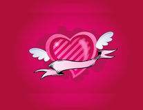 Pink heart with little wings Royalty Free Stock Images