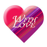 Pink heart With love, stripes, isolated Royalty Free Stock Images