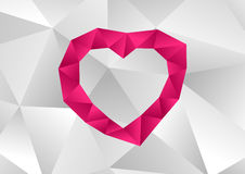 Pink heart with low poly effect wallpaper. Low poly effect pink heart on white low poly background Stock Illustration