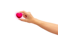 Pink heart in man hands,  on white background. Stock Image