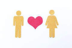 Pink heart , man and woman Stock Photos