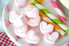 Pink heart marshmallow for kids Stock Photos