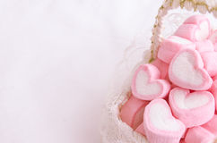 Pink heart marshmallow in Vintage basket Stock Photography