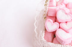 Pink heart marshmallow in Vintage basket Stock Images
