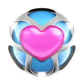 Pink heart metal love sphere Stock Image