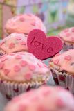 Pink Heart Muffins Royalty Free Stock Photography