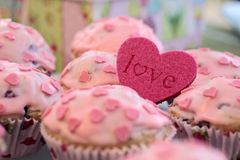 Pink Heart Muffins Stock Image
