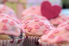Pink Heart Muffins Royalty Free Stock Image