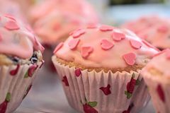 Pink Heart Muffins Stock Photography