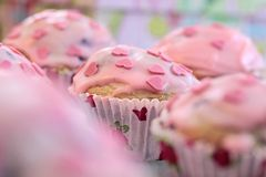 Pink Heart Muffins Royalty Free Stock Photos