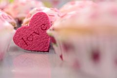 Pink Heart Muffins Royalty Free Stock Images