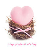 Pink heart in the nest. Stock Photo