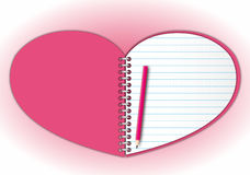 Pink heart notebook Stock Image