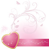 Pink heart with ornament on the decorative ribbon Stock Photography