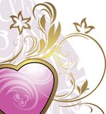 Pink heart with ornamental elements Stock Photography