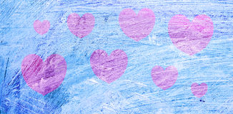 Pink heart over the background, painted in oil, blue. Postcard for Valentine's day Royalty Free Stock Photo