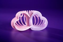 Pink heart over purple Stock Photography