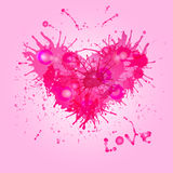 Pink heart of paint drops. Stock Photography
