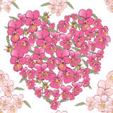 Pink heart of pansies on a white background. Seamless background Stock Images
