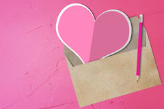 Pink Heart Paper, Envelope Royalty Free Stock Images