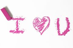 Pink heart pastel sticks doodle Stock Photography