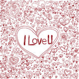 Pink heart on pattern background for valentine's day Royalty Free Stock Images