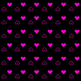 Pink heart pattern on black background Royalty Free Stock Photos
