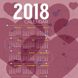 2018 Pink Heart Pattern Printable Calendar Starts Sunday Royalty Free Stock Images