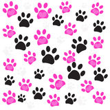 Pink heart paw prints and black paw print pattern vector illustration