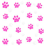Pink heart paw prints and black paw print pattern Royalty Free Stock Image