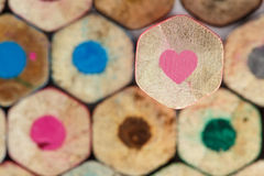 Pink heart pencil crayon Royalty Free Stock Photos