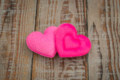 Pink Heart pillow on wood background . Royalty Free Stock Photos