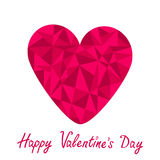 Pink heart. Polygonal effect. White background. Ha Stock Image