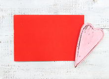 Pink heart and red card Stock Photo