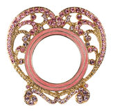 Pink Heart Rhinestone Picture Frame Stock Image