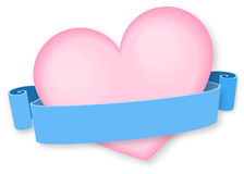 Pink heart with ribbon banner. Ideal for Valentines day postcards. Text can be placed on a blue ribbon (something like be my Valentine, I love you Stock Image