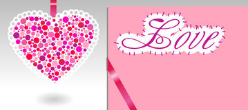 Pink heart, ribbon and paper Royalty Free Stock Photos