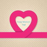 Pink heart ribbon valentine day greeting card. With heart texture background stock illustration