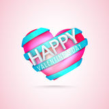 Pink heart with ribbon for Valentine's Day celebration. Royalty Free Stock Photo