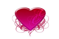 Pink heart with ribbons Royalty Free Stock Image