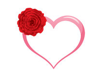 Pink heart with rose Royalty Free Stock Photo