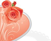 Pink heart with roses Stock Images