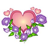 Pink Heart Roses Clip Art stock illustration