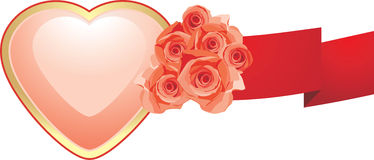 Pink heart with roses and red ribbon Stock Image