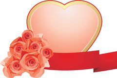 Pink heart with roses to the Valentines day Royalty Free Stock Images