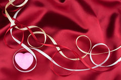 Pink heart and satin ribbons Royalty Free Stock Photo